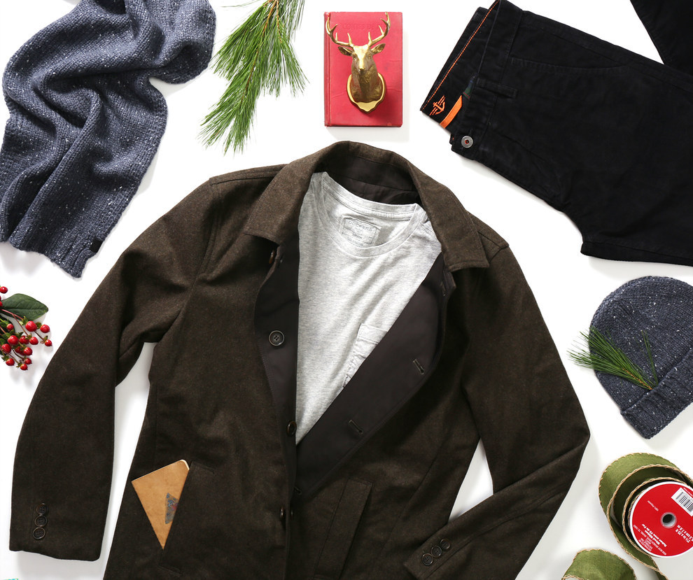 """Keep it low-key on a chilly weekend by pairing your favorite tee with a stylish topcoat."""