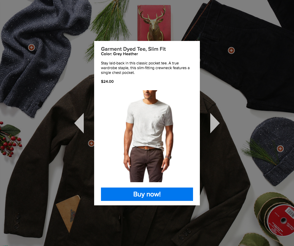 "Clicking ""Buy now!"" takes user directly to item page on Dockers.com where they can add items to their cart and complete the checkout process."