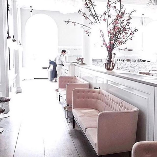 Cherry blossoms, blush sofas and white walls. Planning living room design tonight, loving the interiors inspo from Spring at Somerset House London. #homeinspo #interiorsinspo #interiorstyling