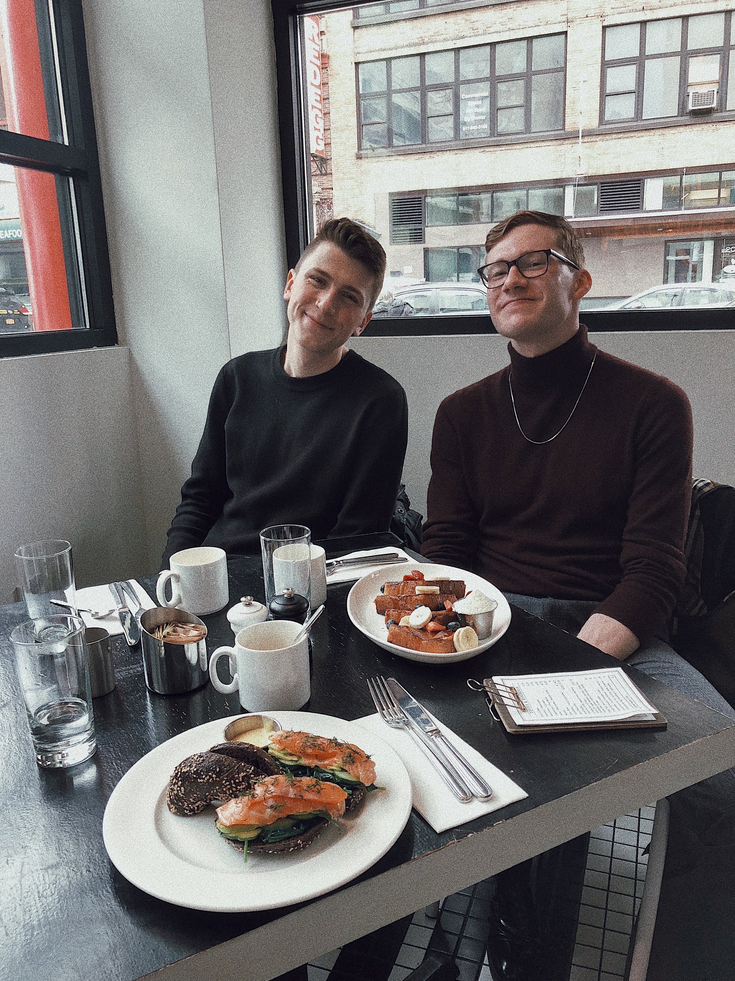 Next we have the two coolest people ever!!! Trevor (left @clevertrevor_) and Austin (right @austindwhittle) met up with me for a quick breakfast and a walk around Soho before we all went about our busy day!  Ps. Salmon bagel pictured here was AMAZING.