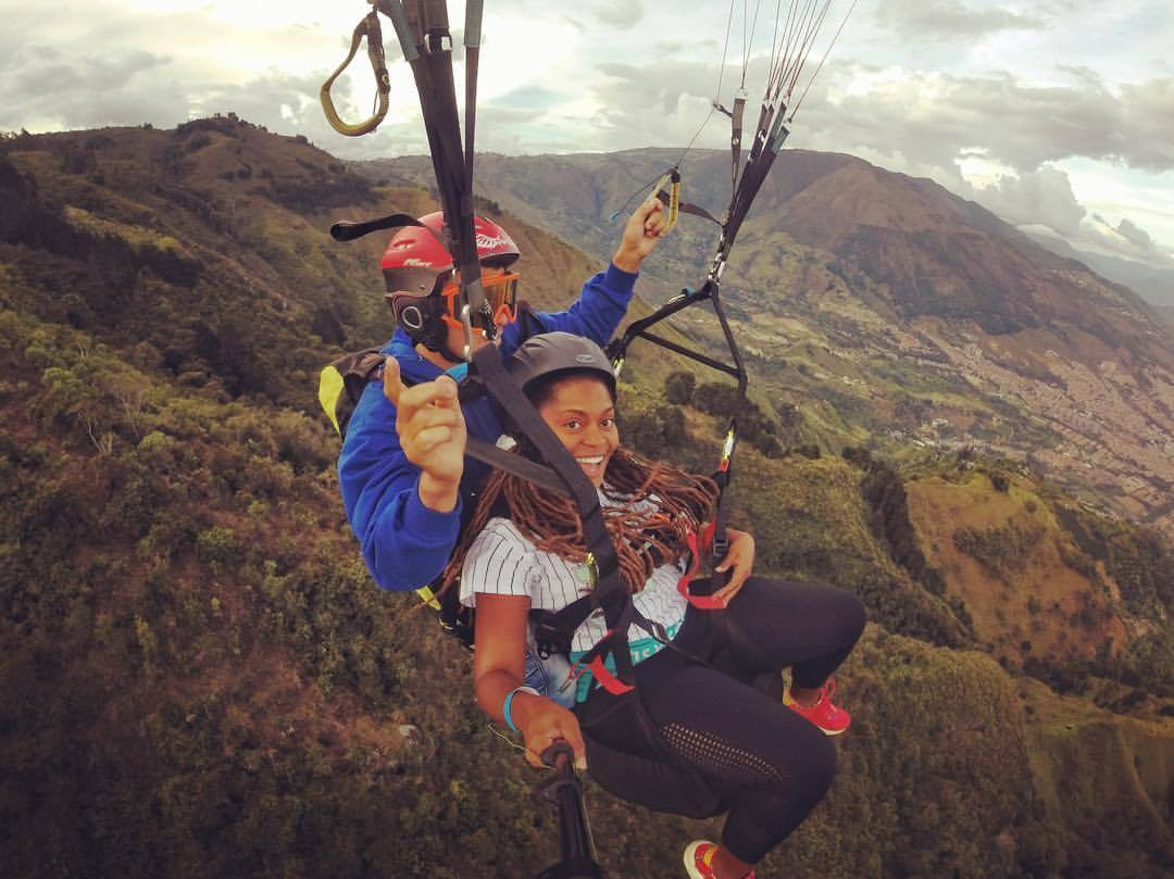 Paragliding over the Andes Mountains in Colombia