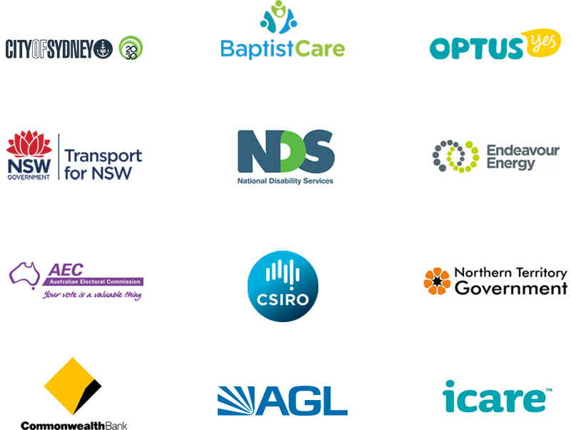 city of Sydney  baptistcare  optus  transport for nsw  national disability service  energy Australia  Australian electoral commission  csiro  northern territory government  commonwealth bank  AGL  icare