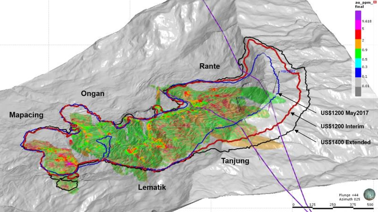 RANTE-TANJUNG    – Oblique View Looking North-NorthEast. Extended Model >0.5g/t Au. Tanjung and High Wall Fault Traces (purple).