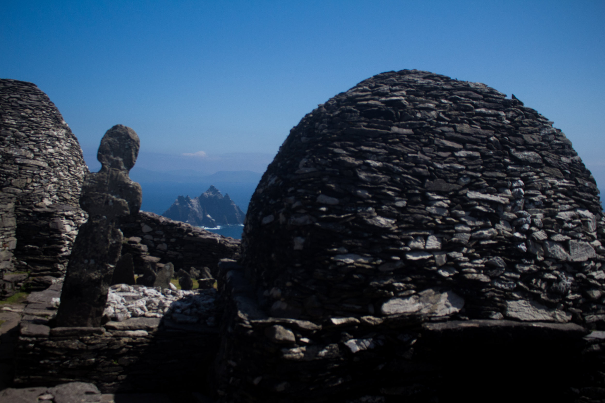 Beehive shaped monastic structures, atop Skellig Michael.