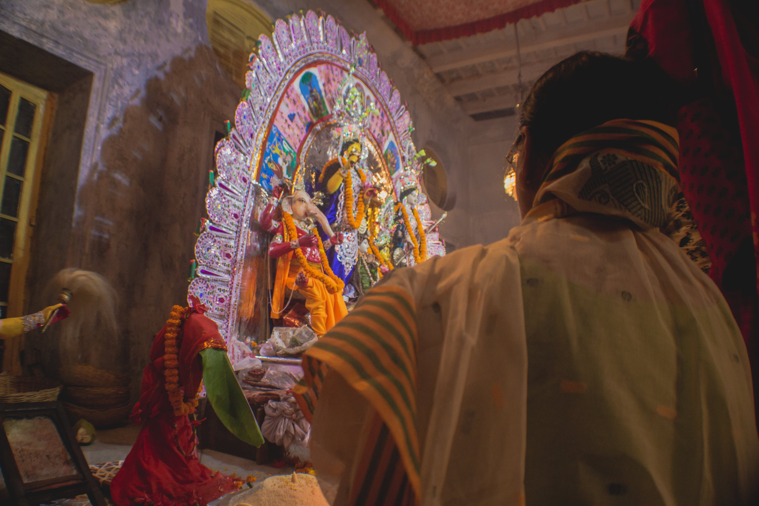 Durga Puja celebrations at the Mullick family house in Central Kolkata, a traditional ceremony that has been occurring for hundreds of years.