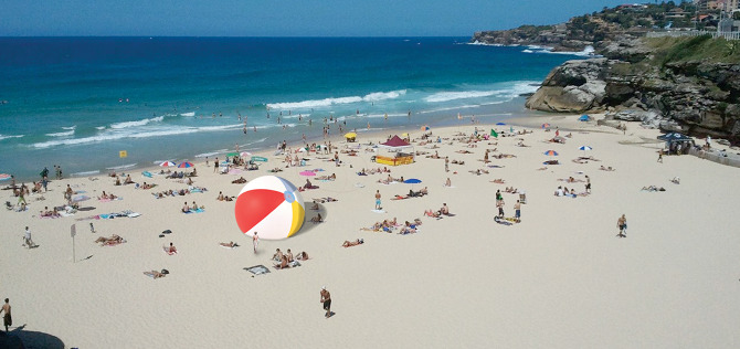 Image:   Gulliver's Beach Ball  by Martin Abbott (2012).
