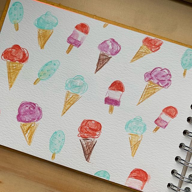 No exactly ice cream weather today but it does look like we're in for some sunny days next week! . . . . . . . . . . #watercolorpencils #sketchdaily  #illustration #creativeprocess #patternlicious #patterndesigners #patterndesign #makeitindesign #createdaily #inkillustration #inkdrawing #inkdrawings #icecreamsketch #sketchbook #patterndesigner #watercolour #flowerstagram #watercolor #watercolourillustration #foodillustrations #watercolorpainting #surfacedesign #foodillustration #watercolor_daily #watercolor_painting #icecream #pinkpigsketchbooks