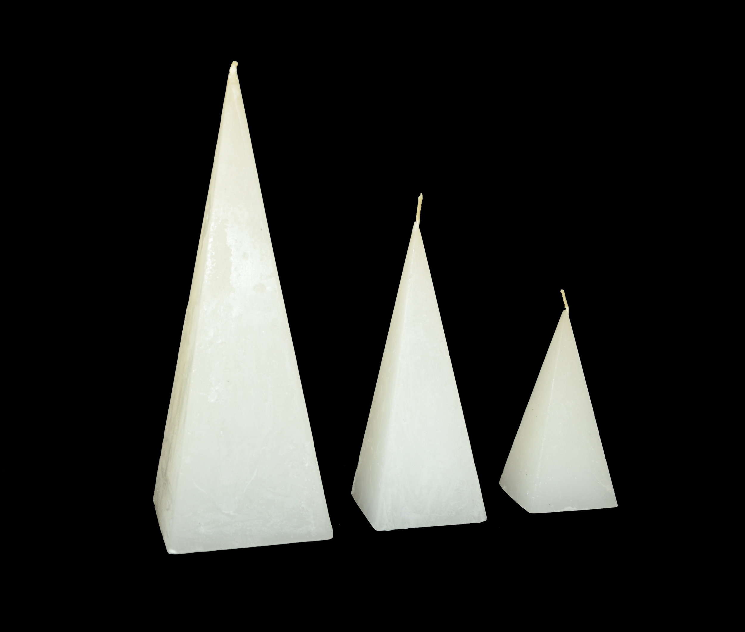 PLAIN FROST PYRAMID CANDLES
