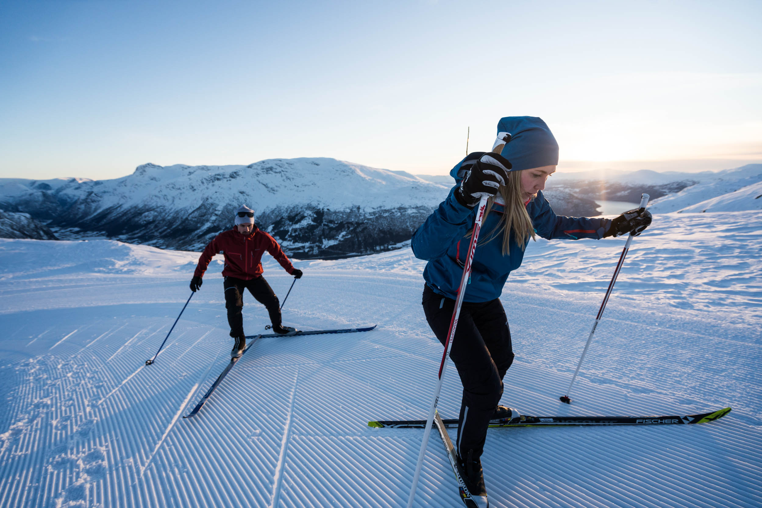 CROSS COUNTRY SKIING   When the weather allows, we'll make groomed Cross-Country tracks with world class view of the fjord, mountains and the Jostedalsbreen Glacier.  See photos.
