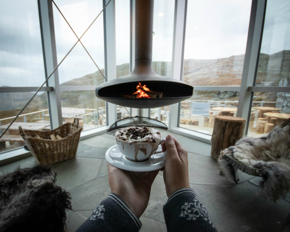 HOVEN RESTAURANT   Located at 1011 m.a.s.l. with panoramic views of the fjord, mountains and the Jostedalsbreen Glacier National Park.  See photos from the restaurant.