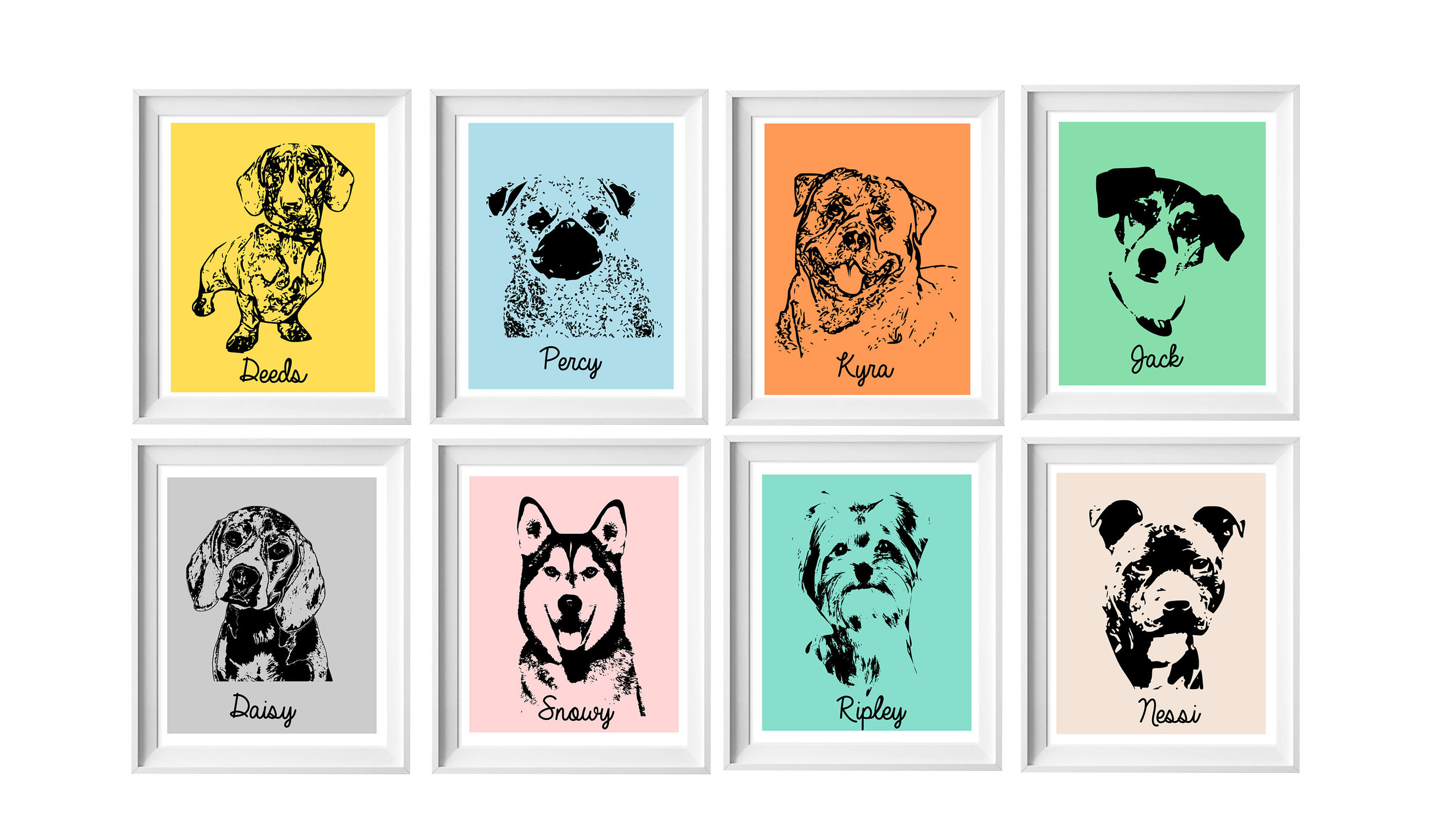Personalised pet Prints - Custom made from your own photographs or pick and choose from our Dog Breed Prints