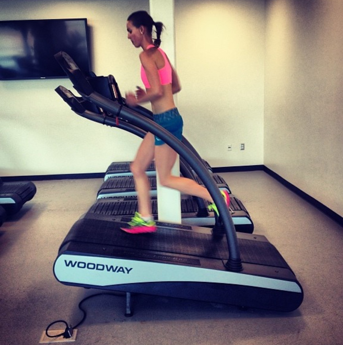 One of my former stud athletes at Cal, Chelsea Sodaro using the Woodway for incline work. Chelsea has personal bests of 4:30 in the mile, 8:47 for 3k, and 15:10 for 5k.