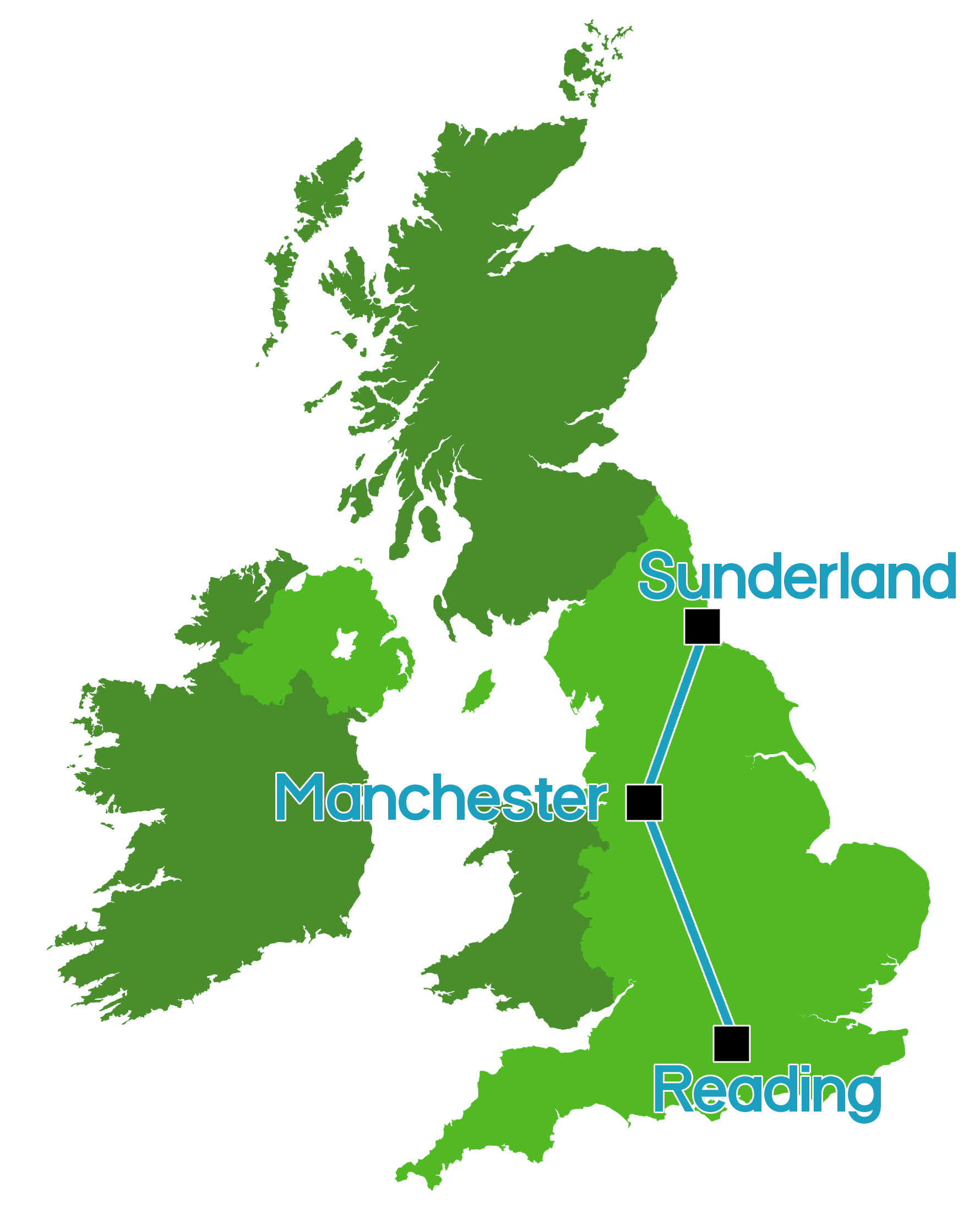 The Perfect Triangle - We've mapped out our locations in a coincidental, yet perfect triangle. This enables us to offer the best services we can to everyone!