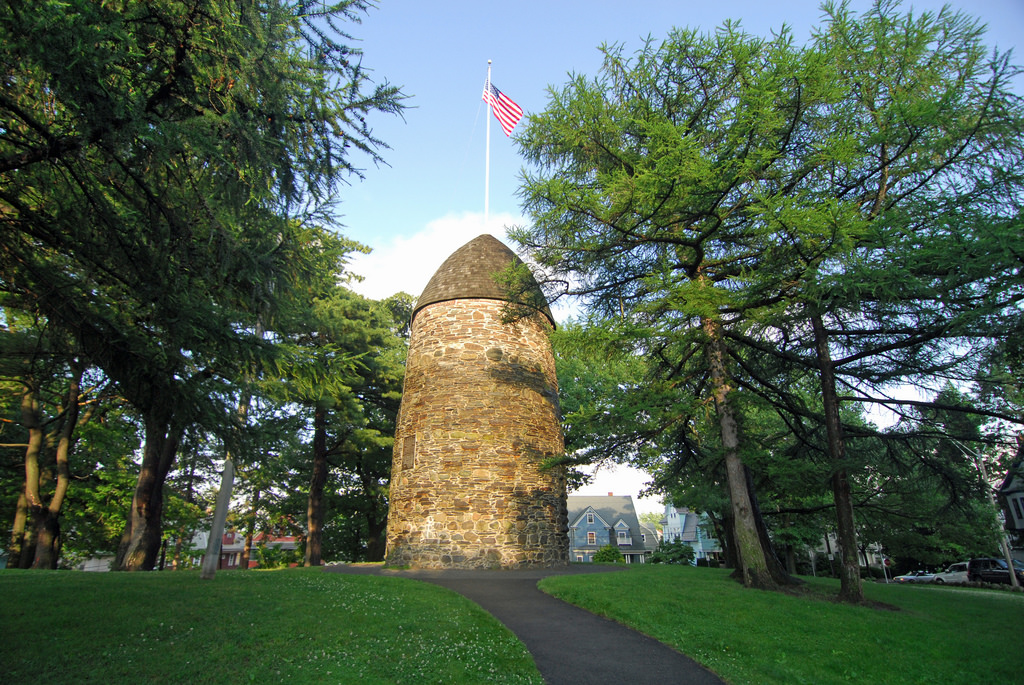 Above, Nathan Tufts Park and the Powder House, steps from the museum