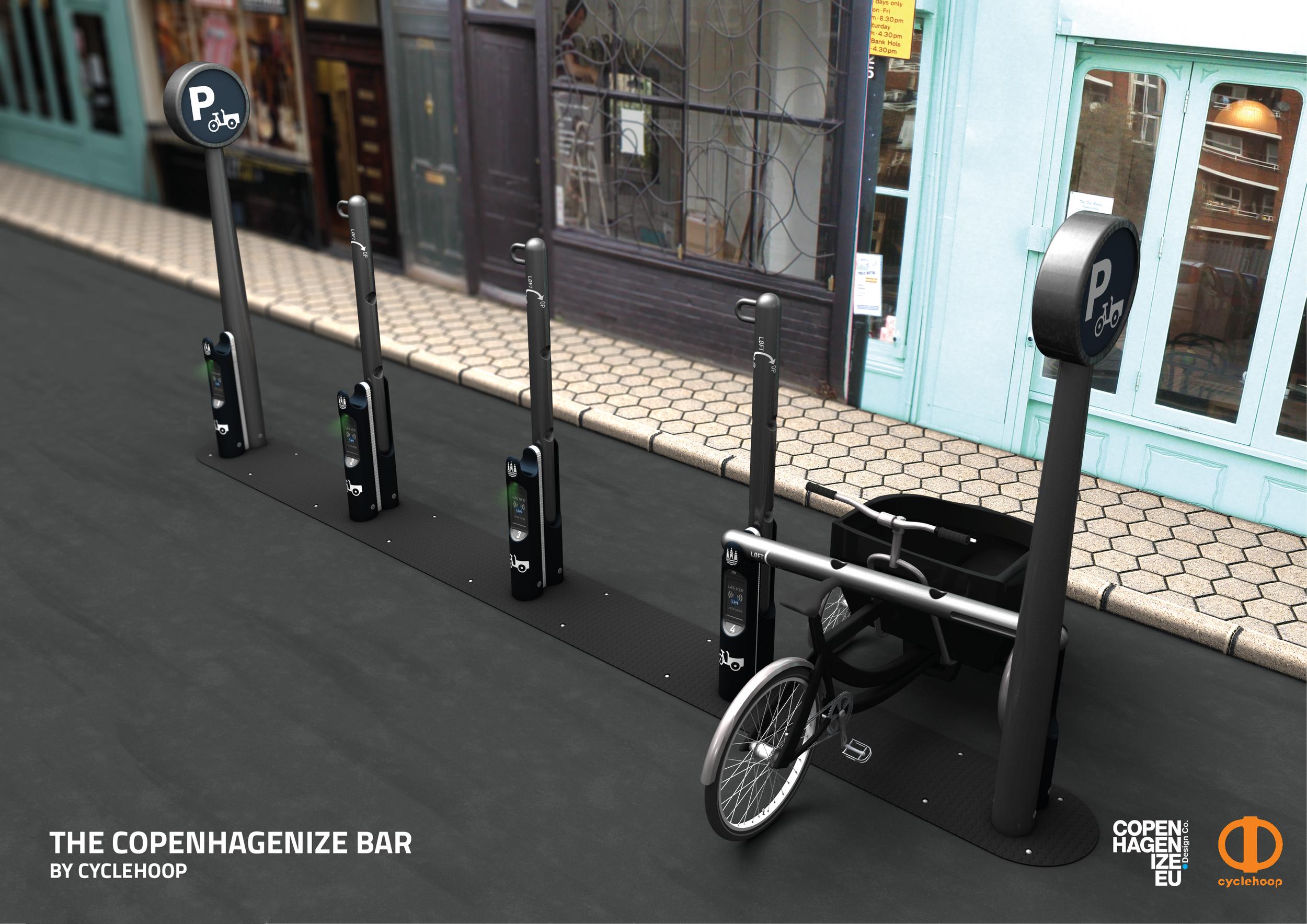 The Copenhagenize Bar - by Cyclehoop - // designing on-street cargo bike parking