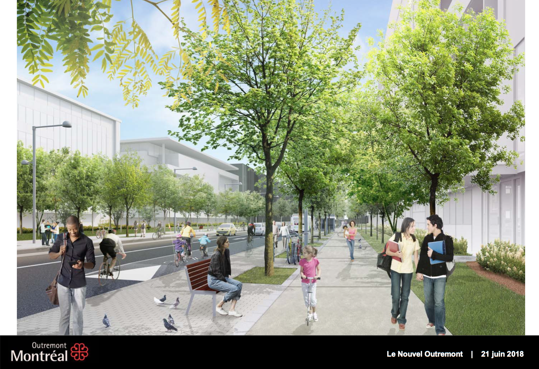 The planned street design in the new Outremont campus development in Montréal (Ville de Montréal).