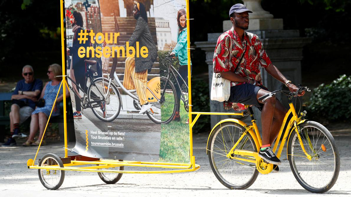 The colour of cycling in Brussels, of Tour Ensemble and of Tour de France: it's all yellow © Brussels Mobility