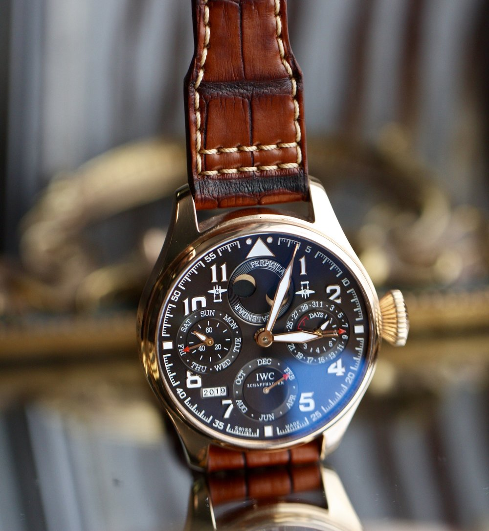 424f8440d French Patina alligator with patina stitching for IWC Big Pilot Perpetual  Calendar Rose Gold 22mm