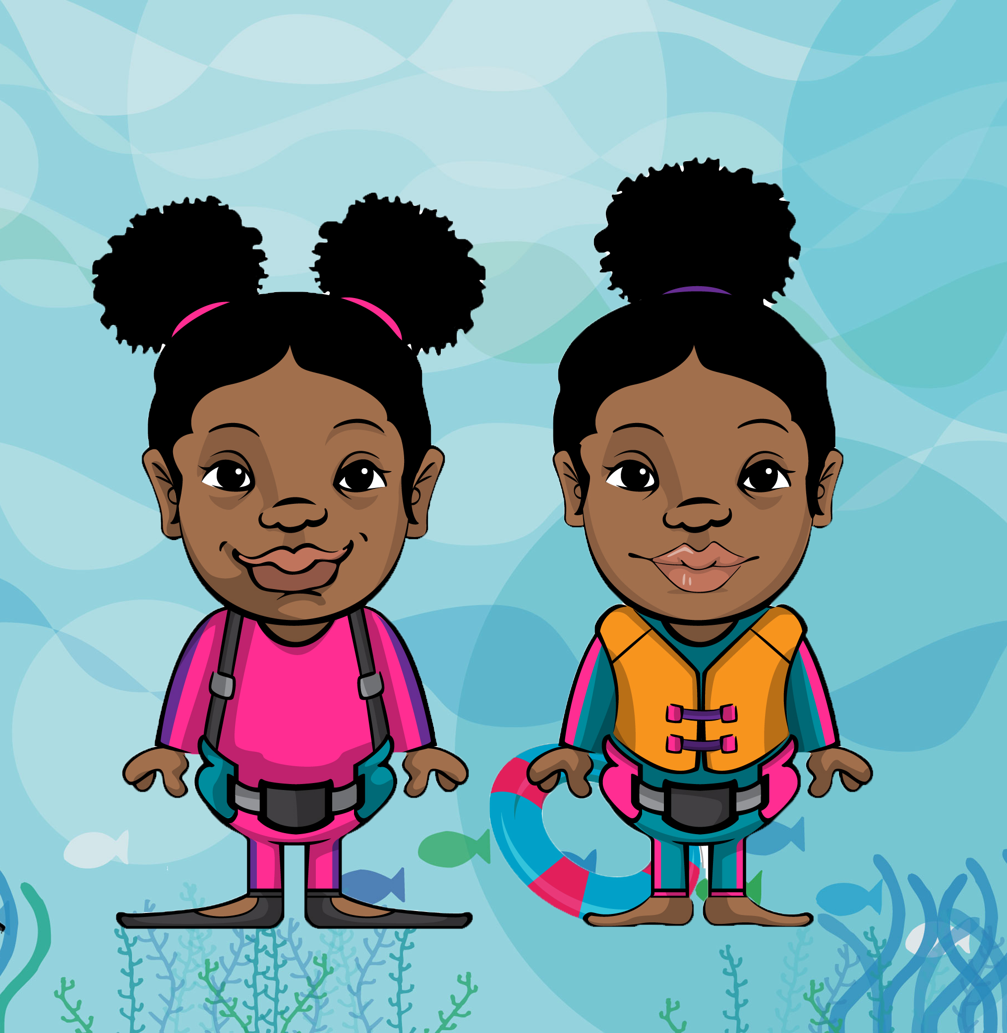 Sneu & Symon - Hi! We're Sneu (pink) and Symon (yellow),the youth avatar ambassadors for Black Girls Dive Foundation!We are here to share one of the many great things we are doing this summer - READING!!