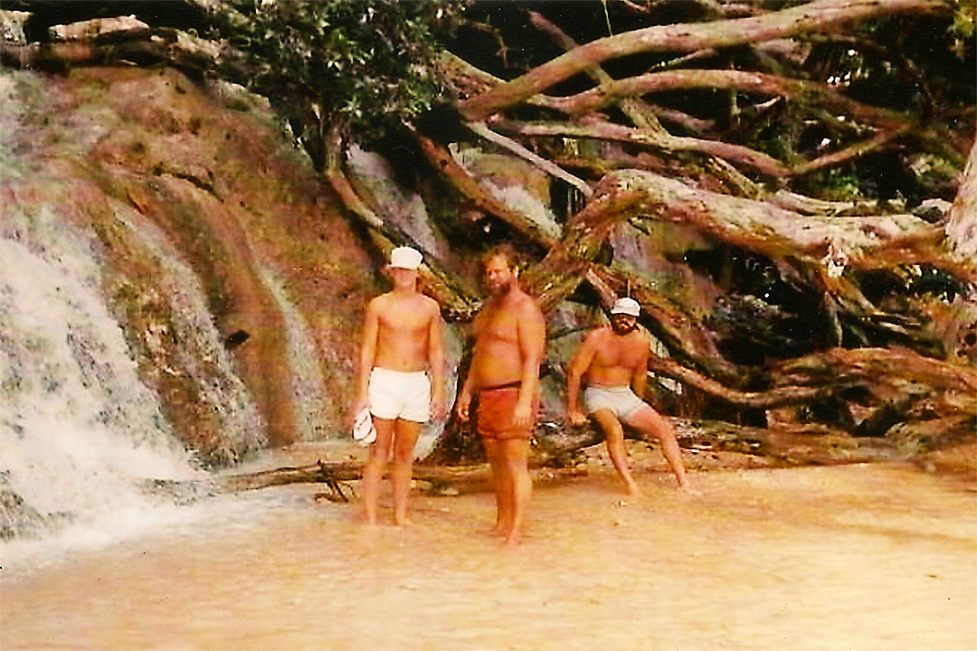 Left to Right, Me, My Dad Gary and Mike having a seat at the bottom of Dunn's River Falls, Jamaica.