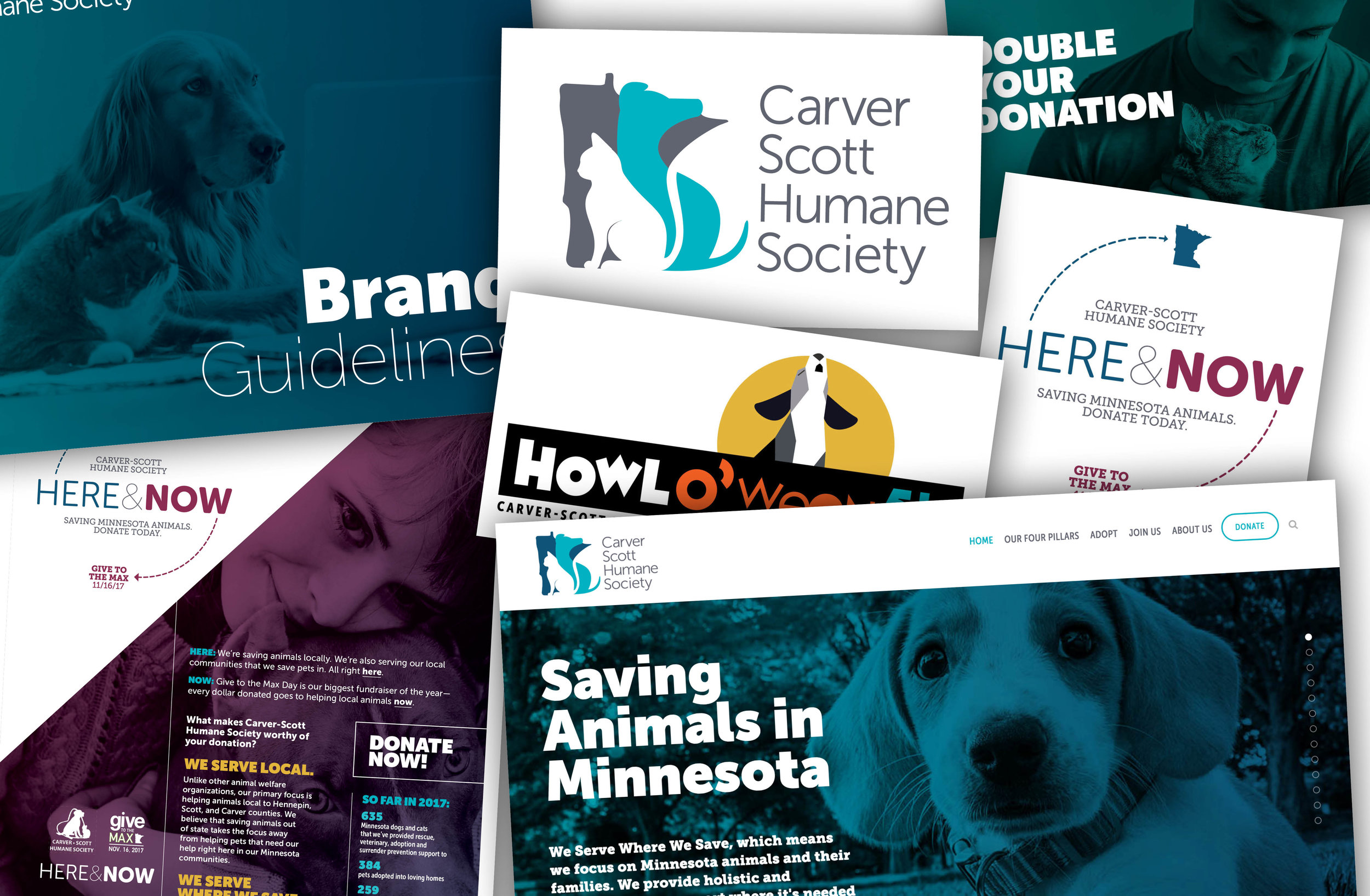Carver Scott Humane Society - Selected design work from Carver Scott Humane SocietyThe work:> Logo + Branding updates > Website> Give to the Max Day design work> Event logos > Printed collateralThe Results: An updated brand has given CSHS a bold and flexible look to match its bold and flexible mission. They've seen huge increases in Give to the Max Day fundraising results with the help of our campaigns.[ Work completed by Arrow 34 in conjunction with Cooks Bay Marketing. ]