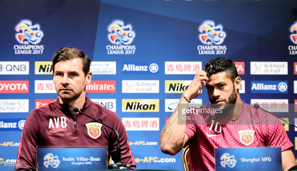 Former Zenit St. Petersburg manager, Andre Villas Boas, and striker, Hulk in the colours of Shanghai SIPG.