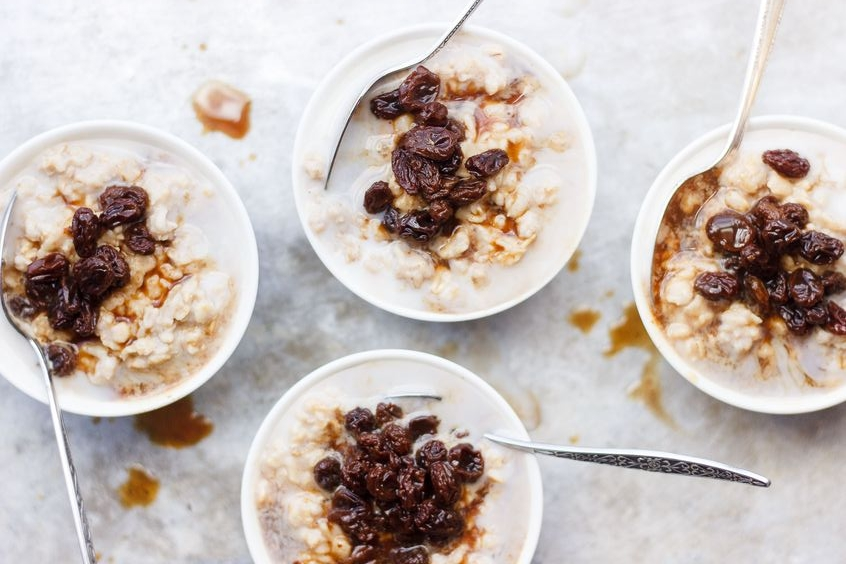 Soaked oats make a great breakfast base, be it hot or cold. Just choose your favorite flavors for the topping.
