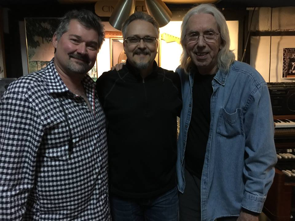Robert Lucas , Trey Ackerman and  Wayne Moss posing for a pic in front of the Gold Record at Cinderella Sound Studio - Day 1 of what would eventually become Trey's Lonely On The Road CD project.