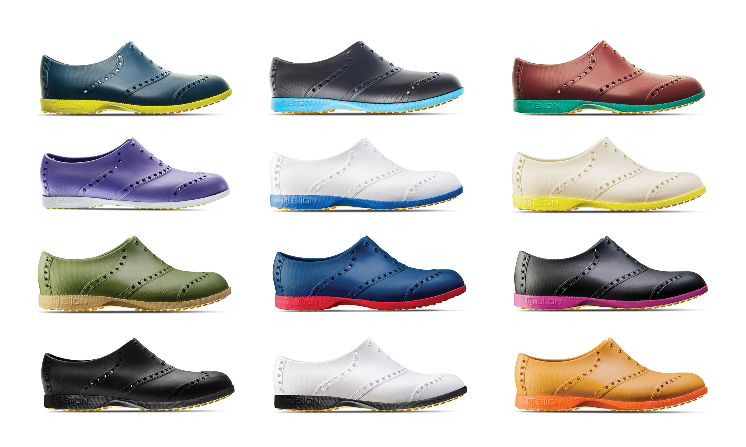 "A spread color ways of BIION ""rubber shoes""."