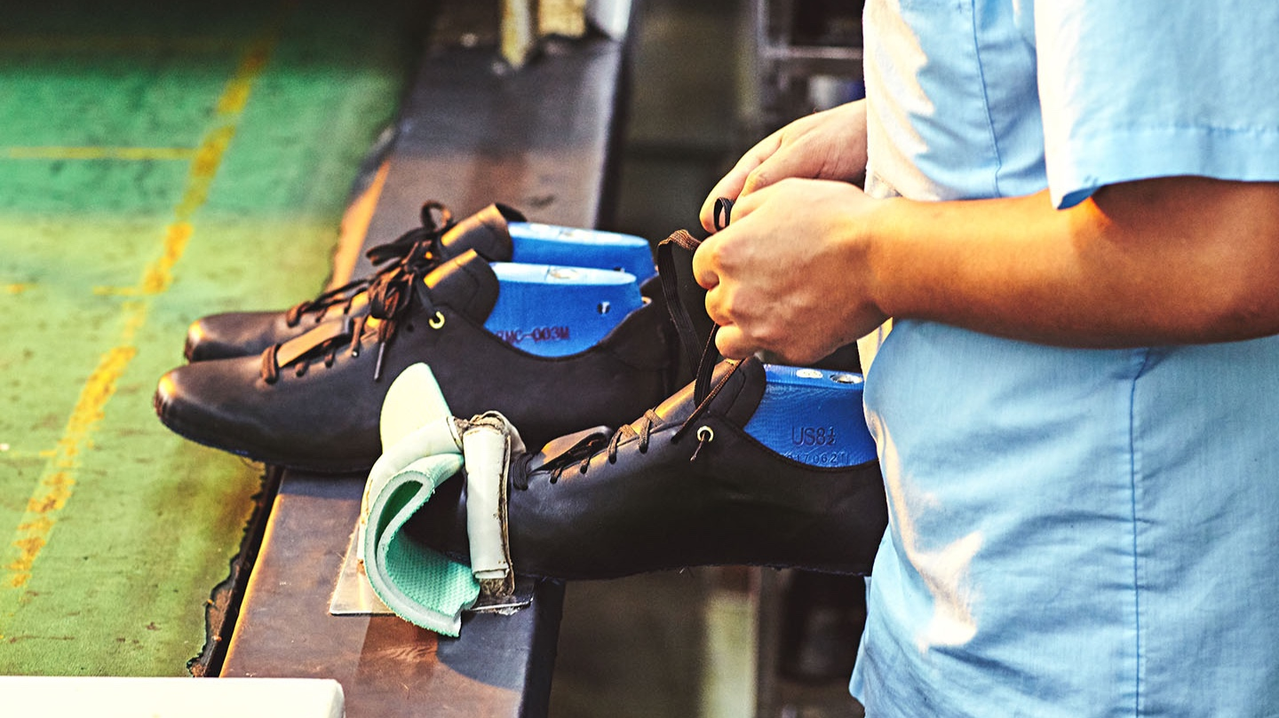 Step 3: Form fitting  Last is put into sewed upper for the remaining of production in order to maintain the perfect shape of a shoe style.