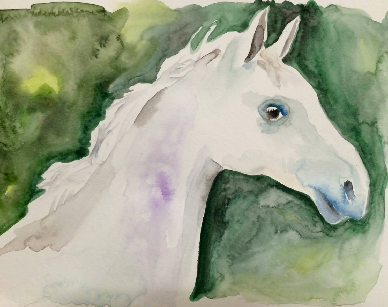 """Ghost,"" watercolor on paper, 9""x12"" (private collection) 2015"