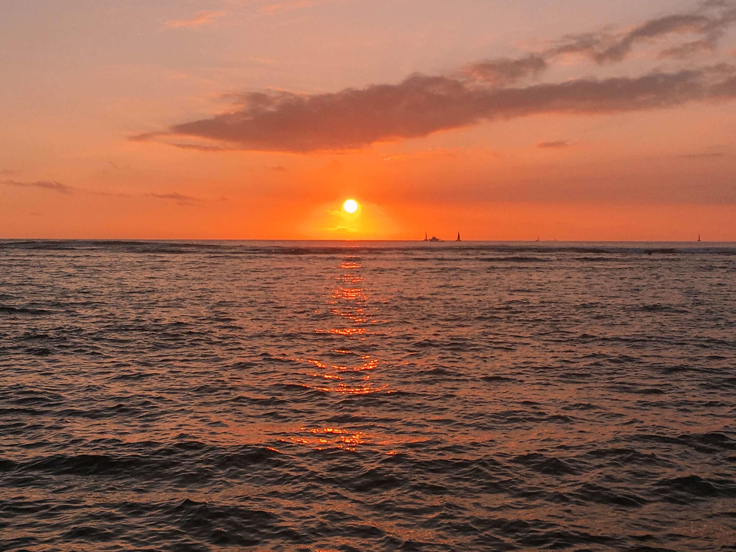 Oahu Hawaii Waikiki Sunset