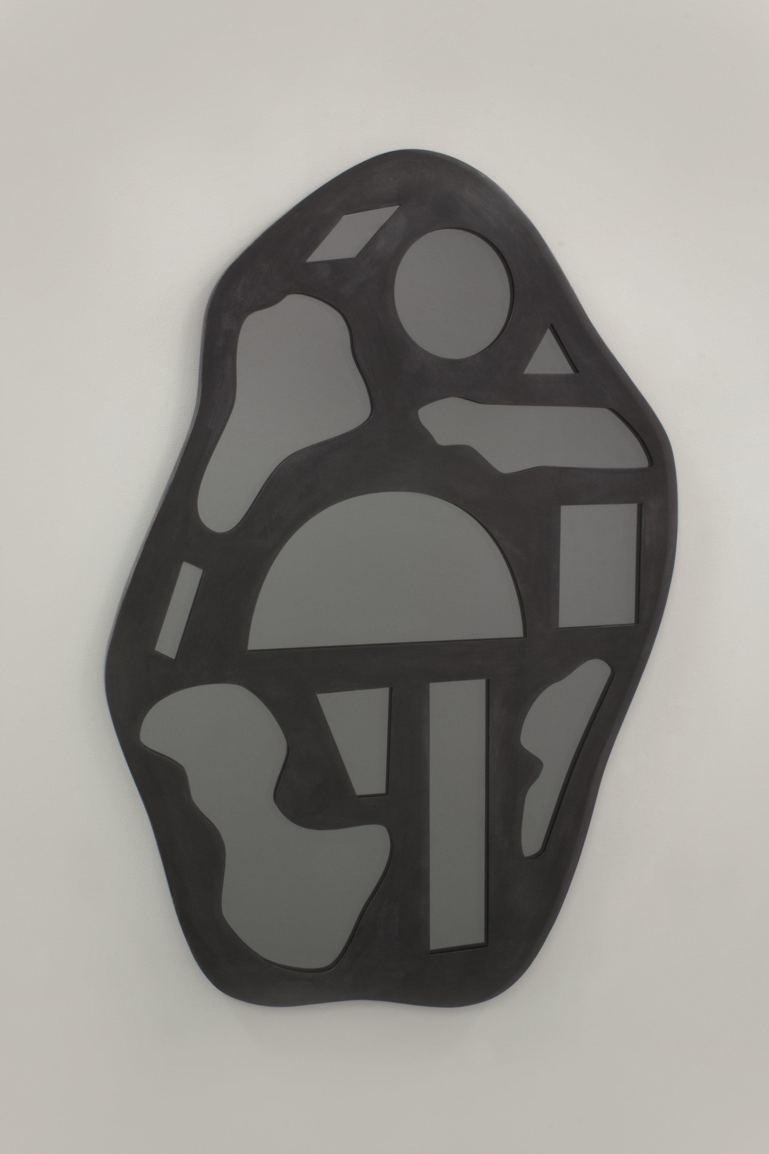 walac. studio graphic collectible mirror, blackened steel