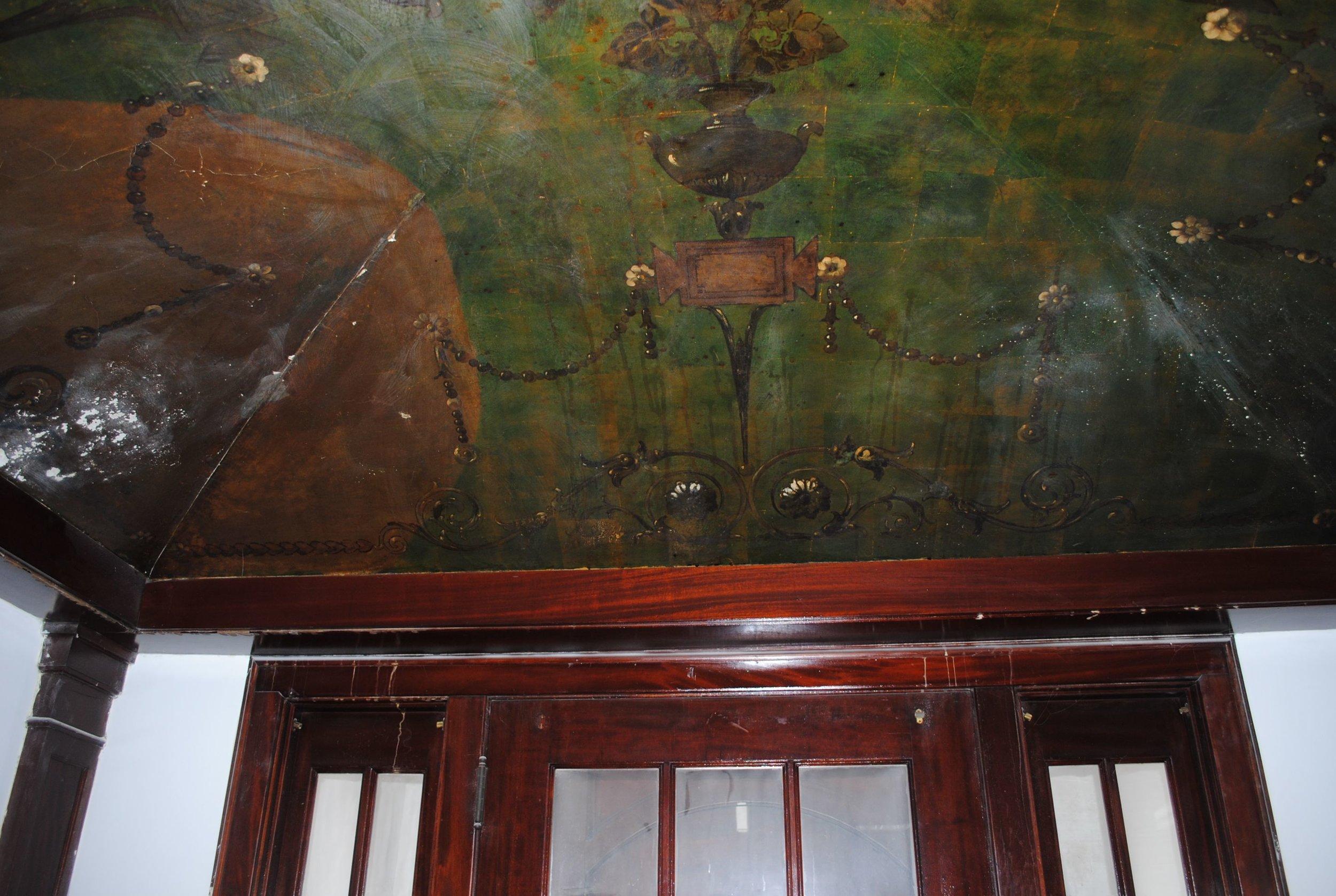 damaged ceiling mural