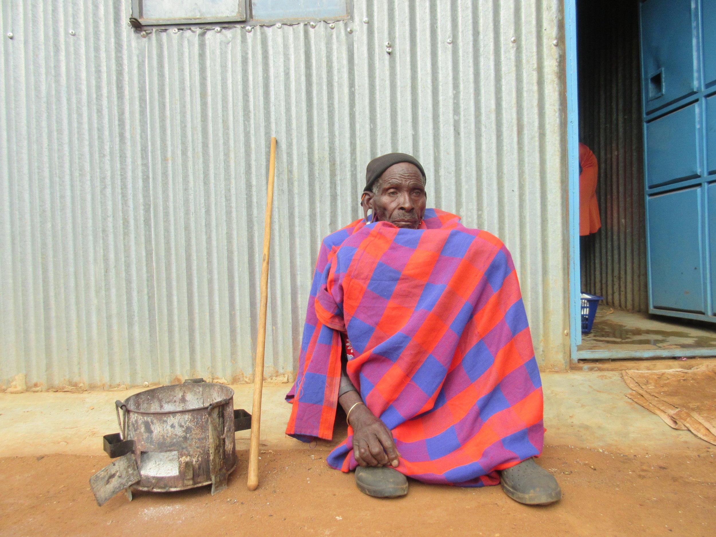 Sankau, resting, outside his friend's home