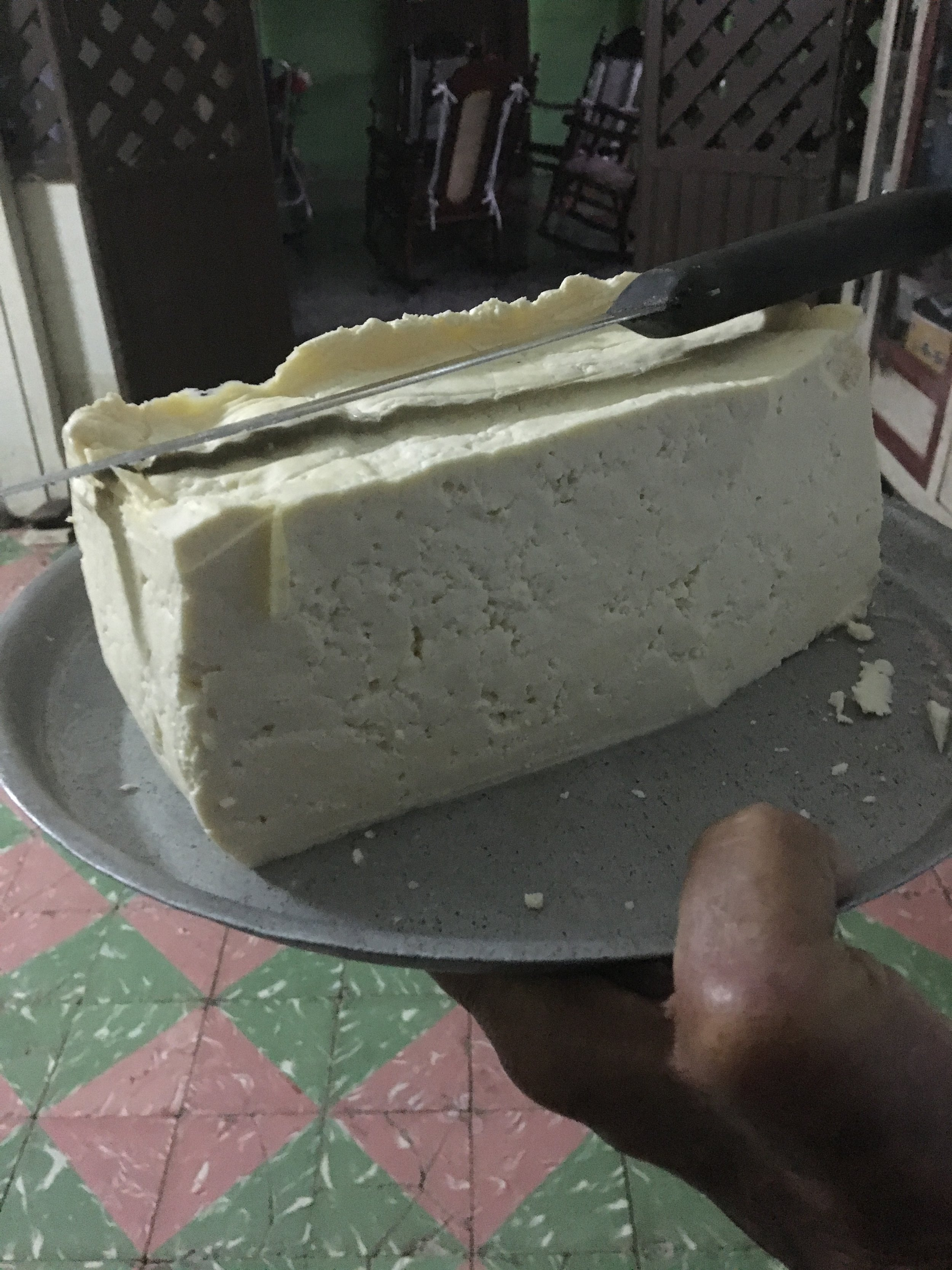 A big hunk of their homemade cheese!