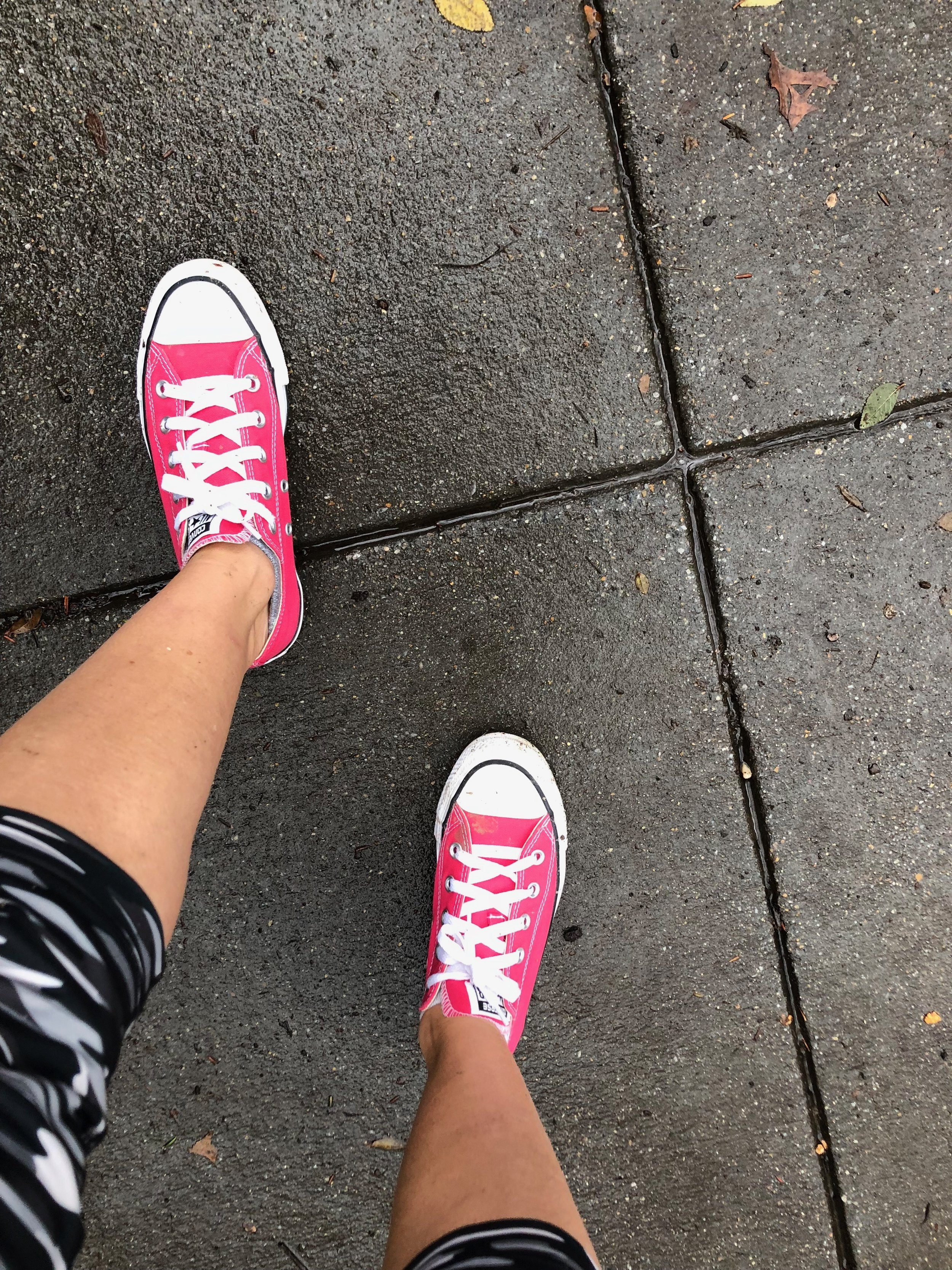 Hot pink Converse make cold adaptation more fun!
