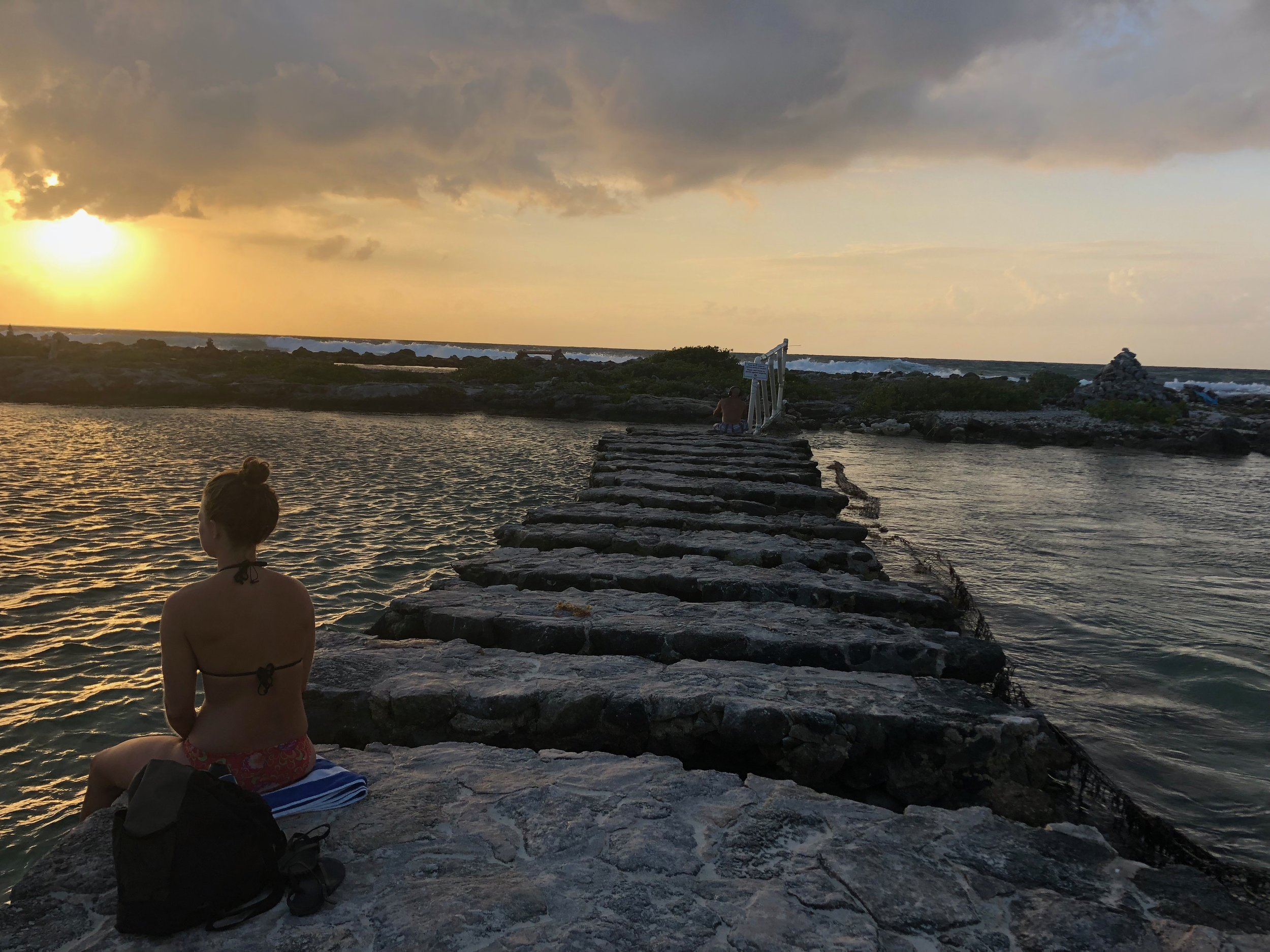 Reconnecting with natural light can help get us in sync with our natural circadian rhythm. This is my friend, Gina, soaking in the sunrise.