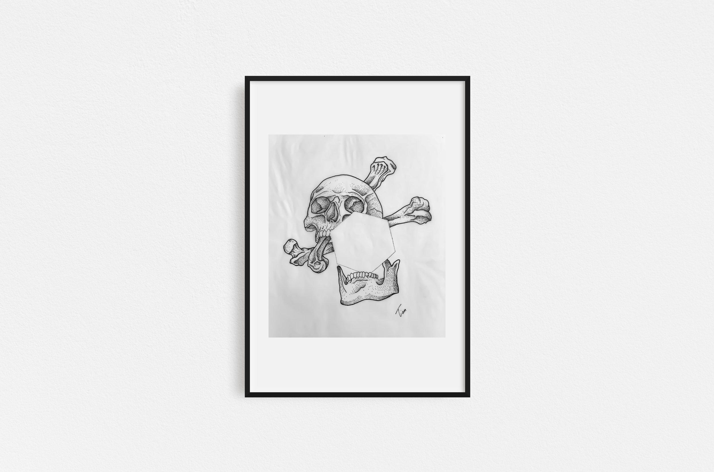 SKULL PENTAGON - sebastian exlmixed media painting32x26 cm | 12x10 in