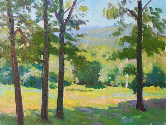 "John Petersen,  Mountain Vista Through Trees , 10""x14"", Oil paint on Canvas Panel"