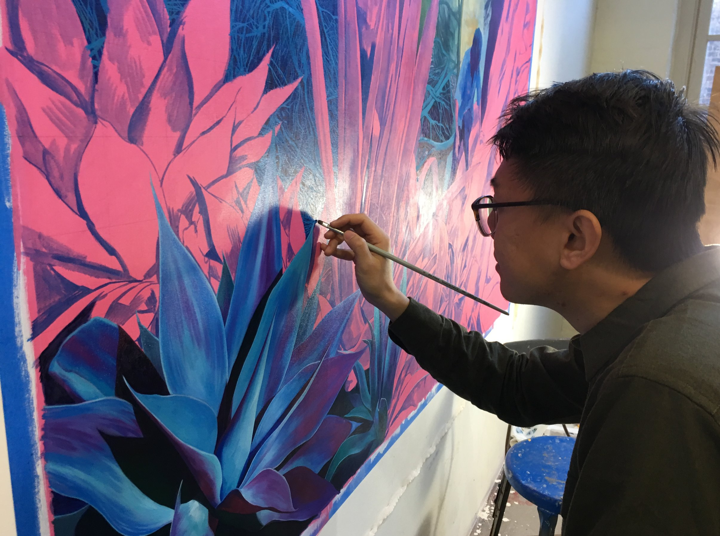 Xiao Wang   at work in his studio