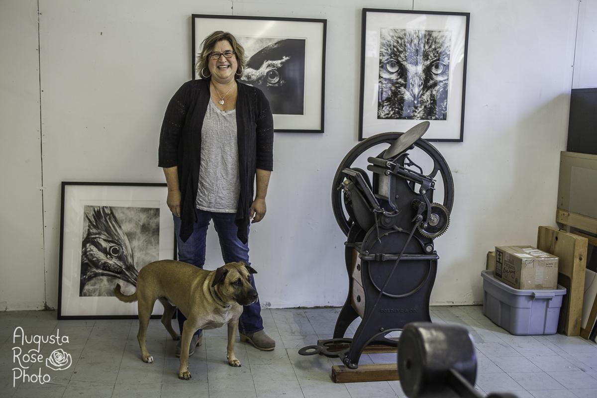 Printmaker Valerie Carrigan (Messenger Press ) in her North Adams studio.