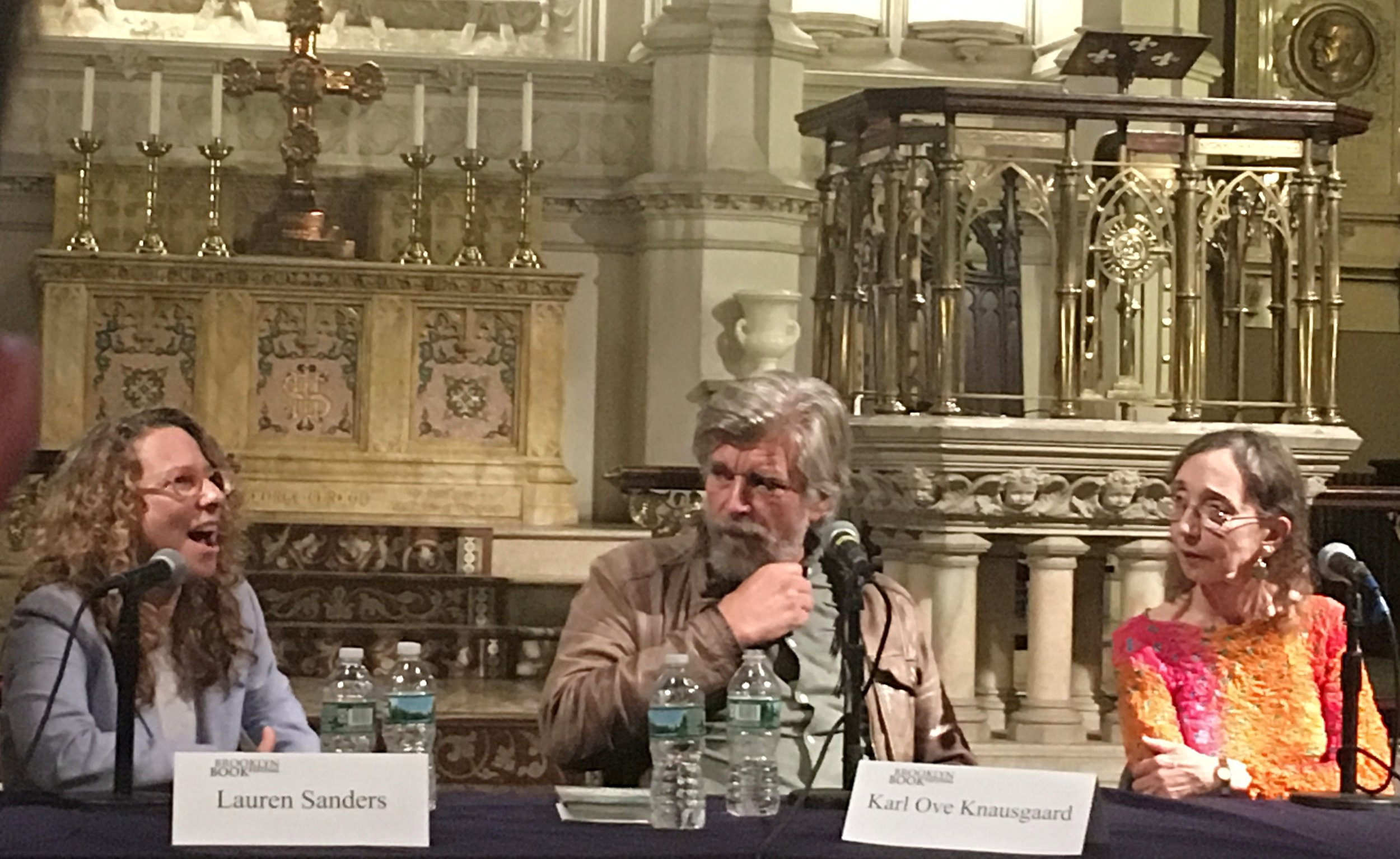 "Literary Dream: Sharing the stage with Karl Ove Knausgaard and Joyce Carol Oates at the Brooklyn Book Festival. The panel was ""Family Secrets."""