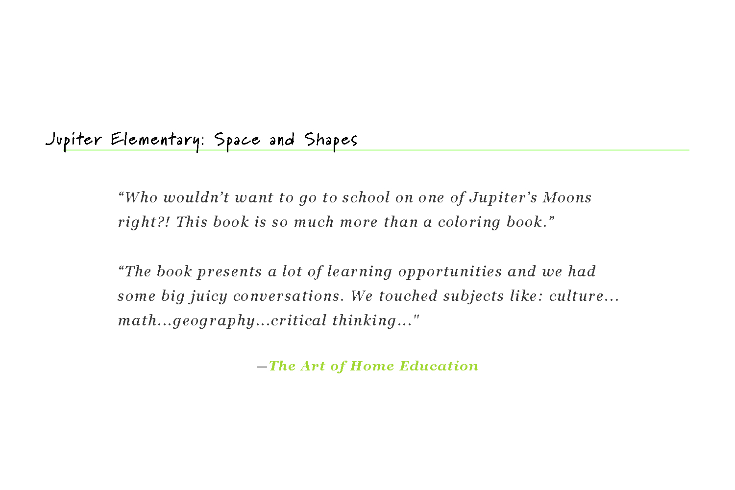 Jupiter Elementary: Space and Shapes
