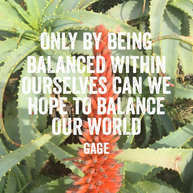 Only by Being Balanced Within Ourselves Can We Hope to Balance our World