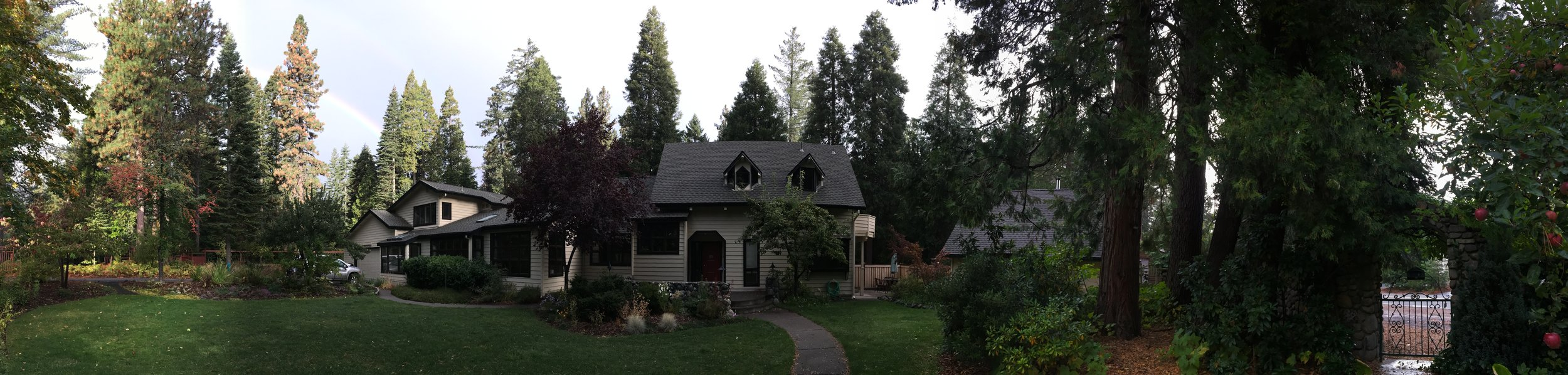 Welcomed view of main house and front cottage. Come enjoy the healing land of Mount Shasta, CA