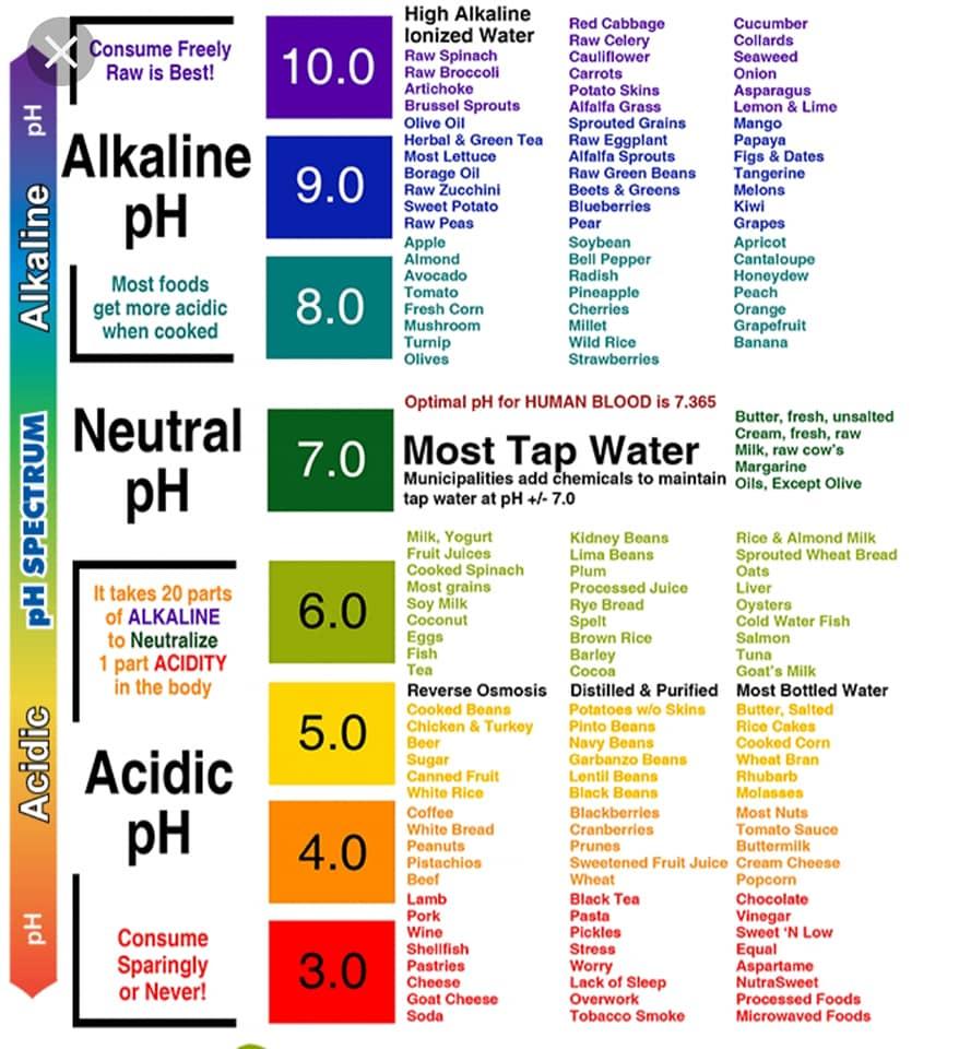 Alkaline pH - Neutral pH - Acidic pH