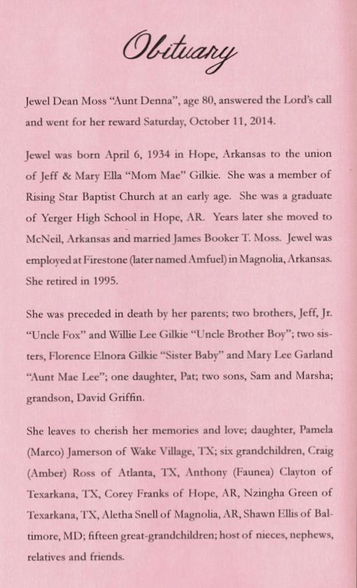 Jewel Dean Moss — McFadden & Hitchye Funeral Enterprises
