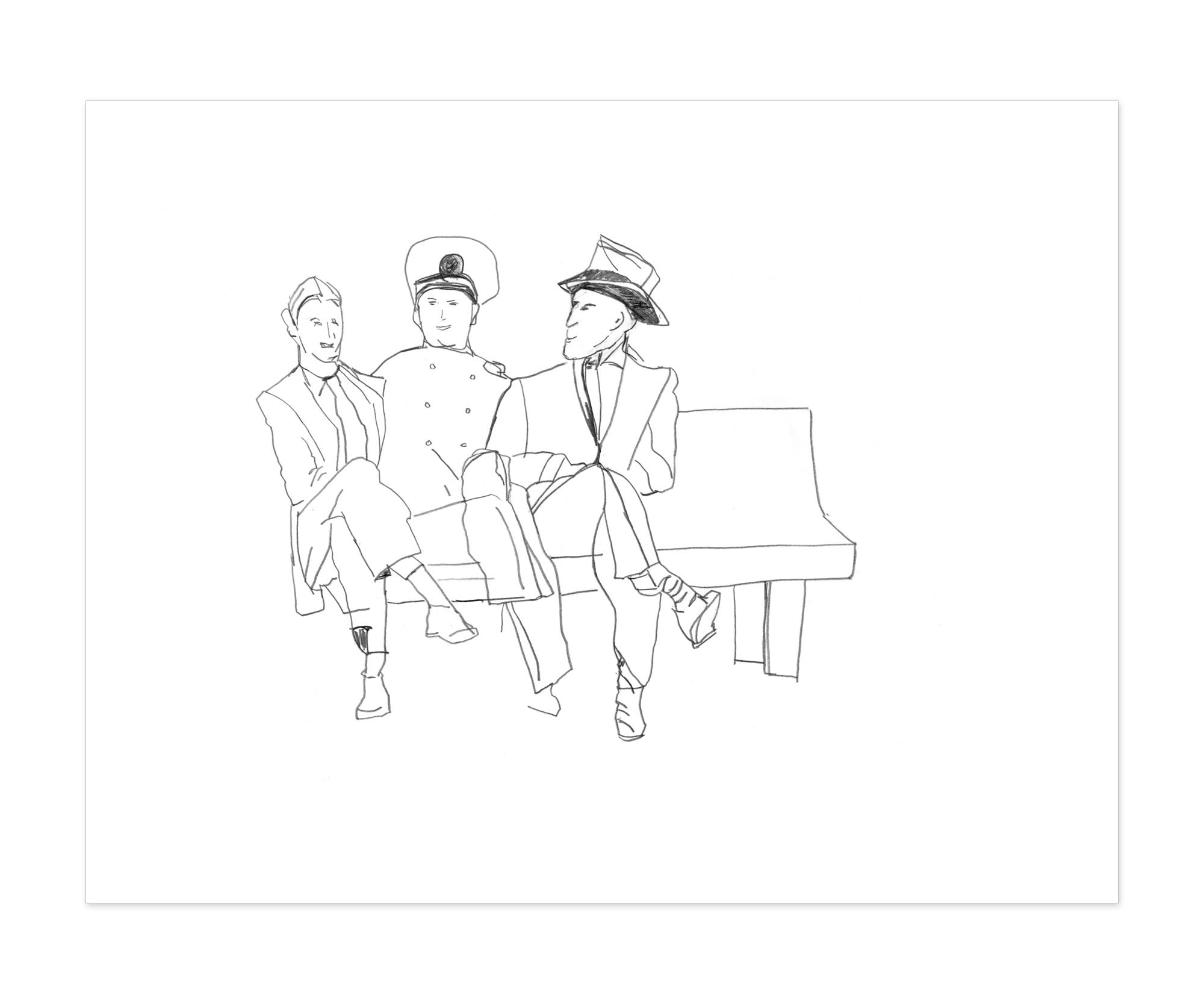 Three Guys on a Bench