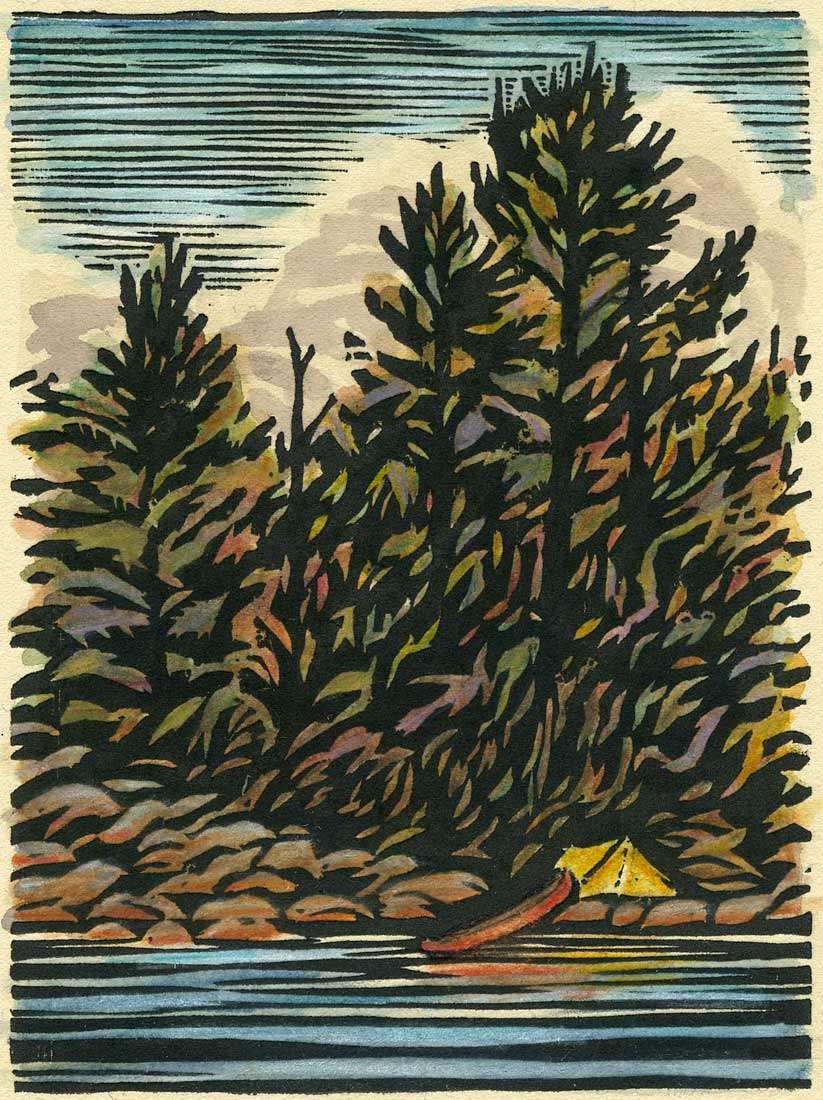 White Pine Camp  - woodblock print with watercolor